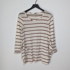 Poof Cream & Maroon Striped Side Vented Sweater S